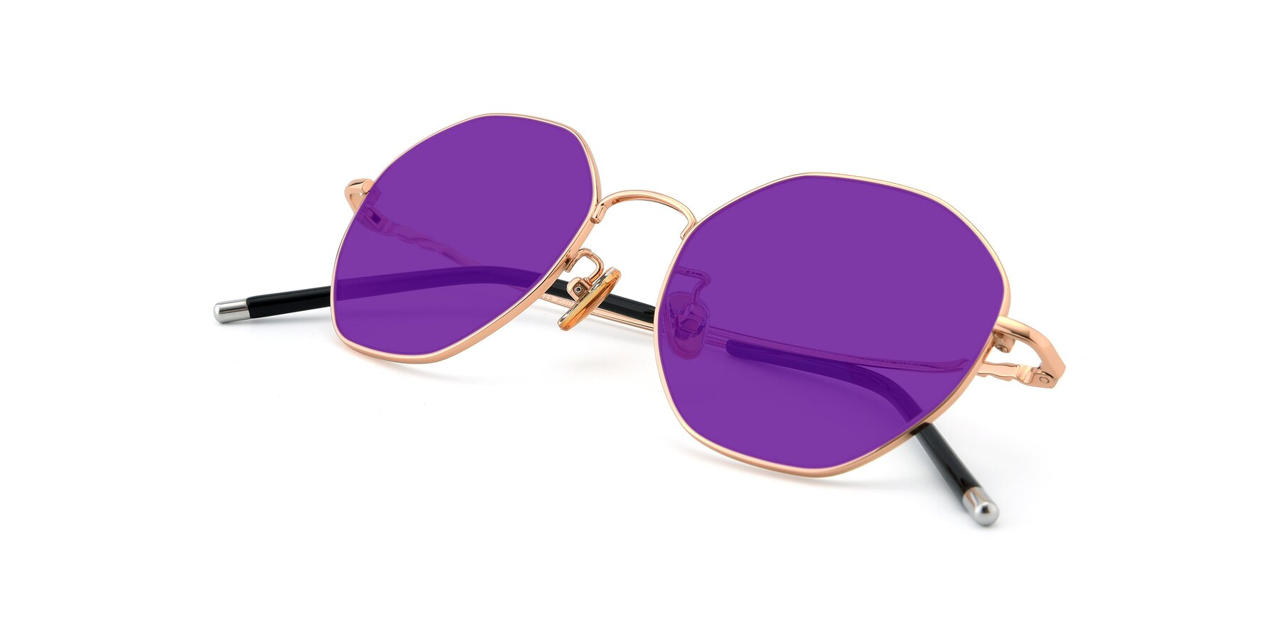 View of 90059 in Gold with Purple Tinted Lenses