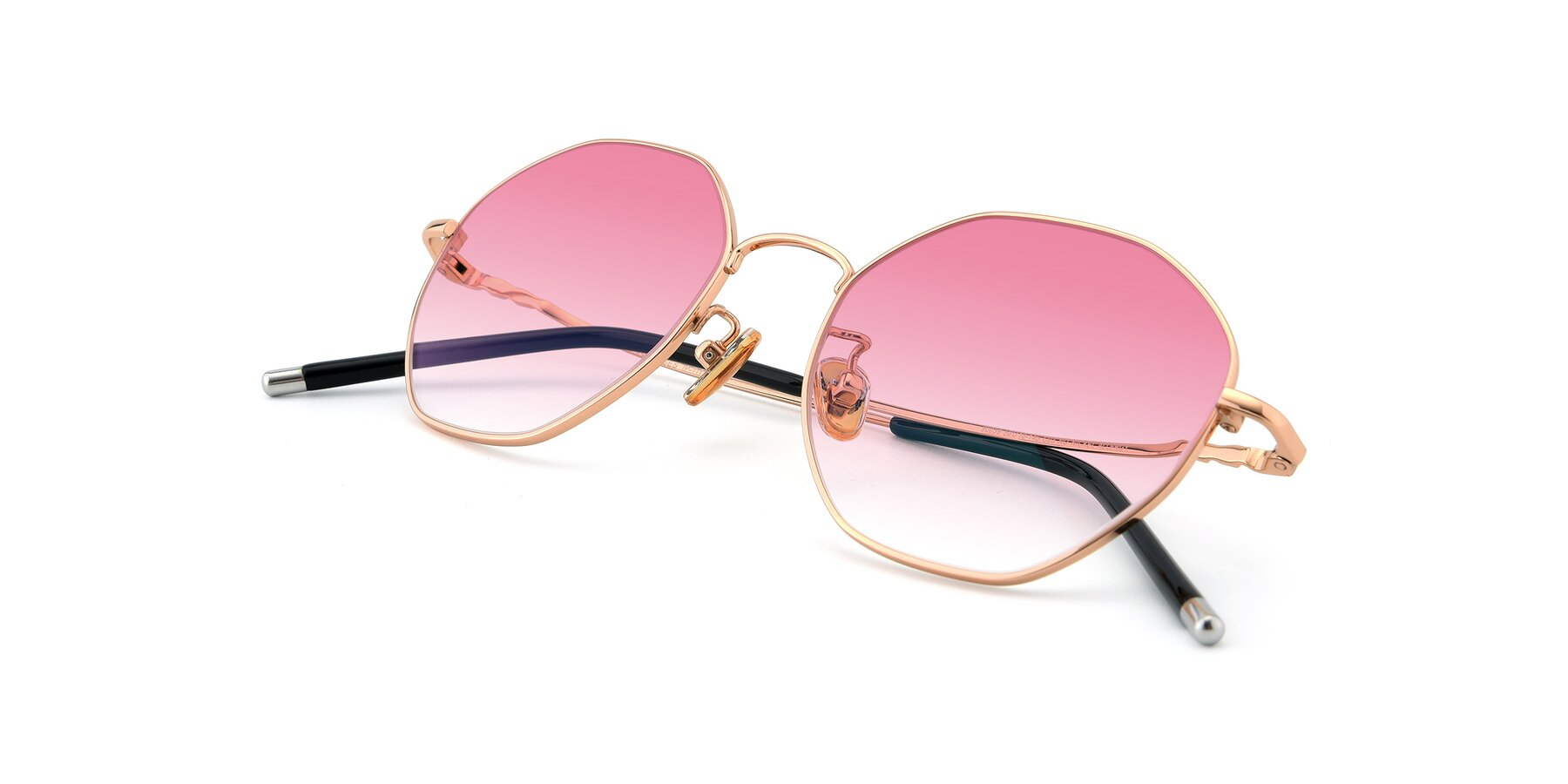 View of 90059 in Gold with Pink Gradient Lenses