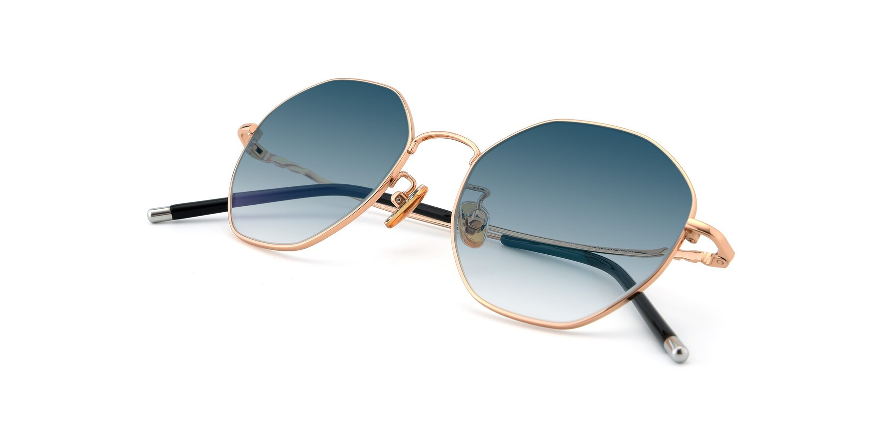 View of 90059 in Gold with Blue Gradient Lenses