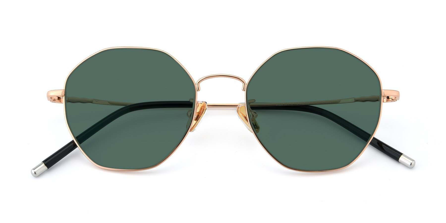 Folded Front of 90059 in Gold with Green Polarized Lenses