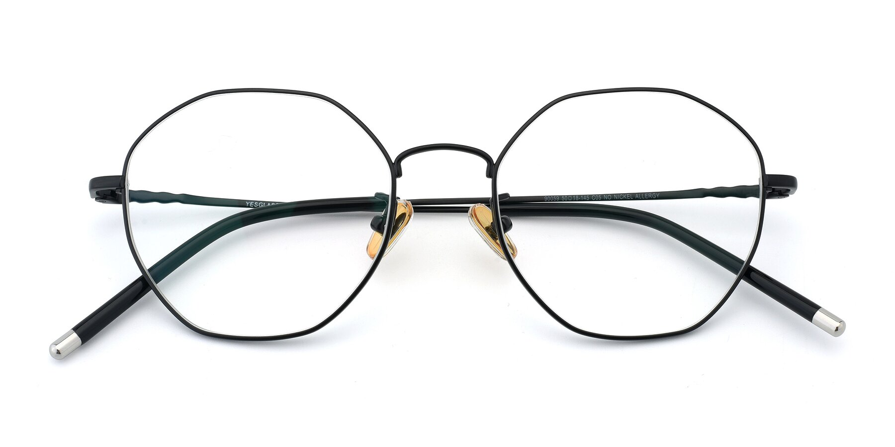 Folded Front of 90059 in Black with Clear Eyeglass Lenses