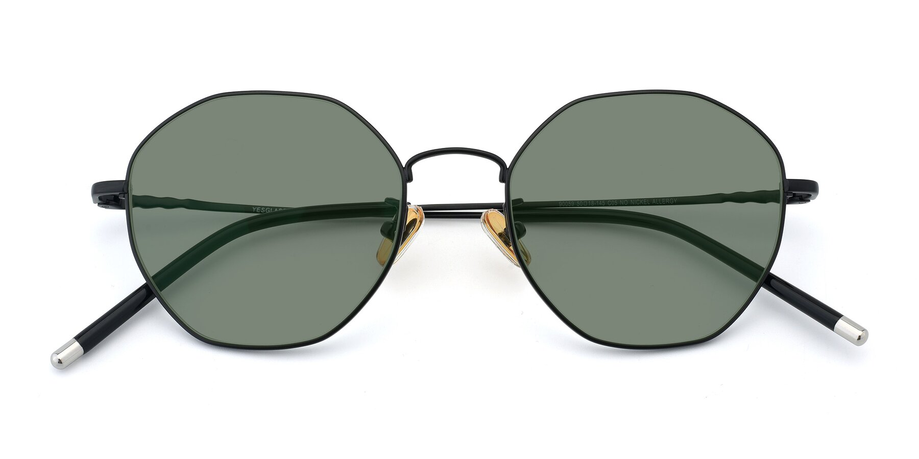 Folded Front of 90059 in Black with Medium Green Tinted Lenses