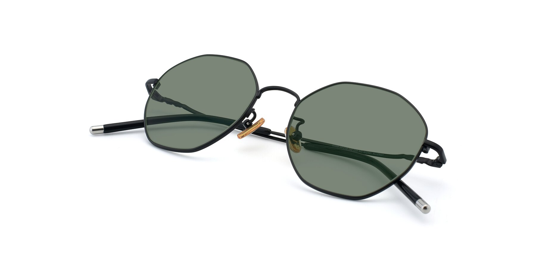 View of 90059 in Black with Medium Green Tinted Lenses