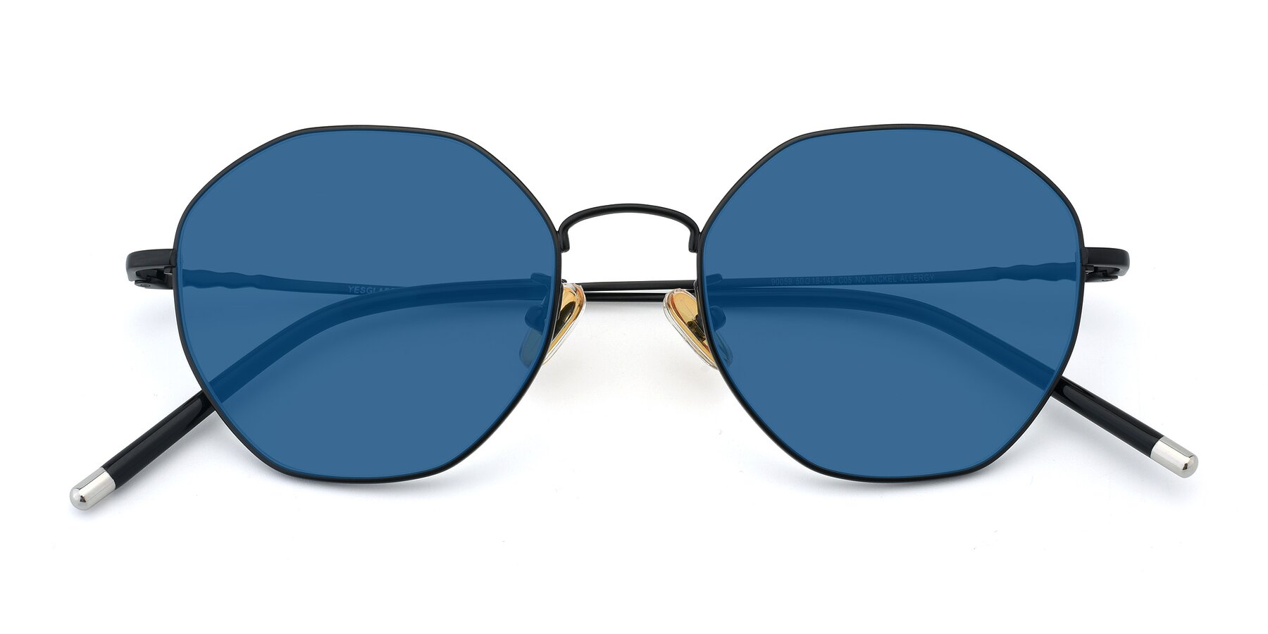 Folded Front of 90059 in Black with Blue Tinted Lenses