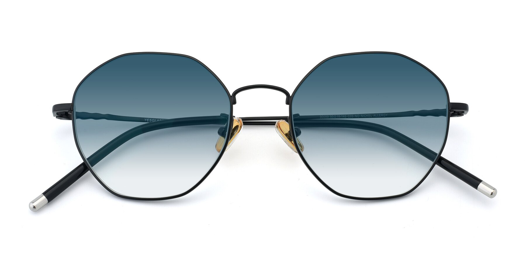Folded Front of 90059 in Black with Blue Gradient Lenses
