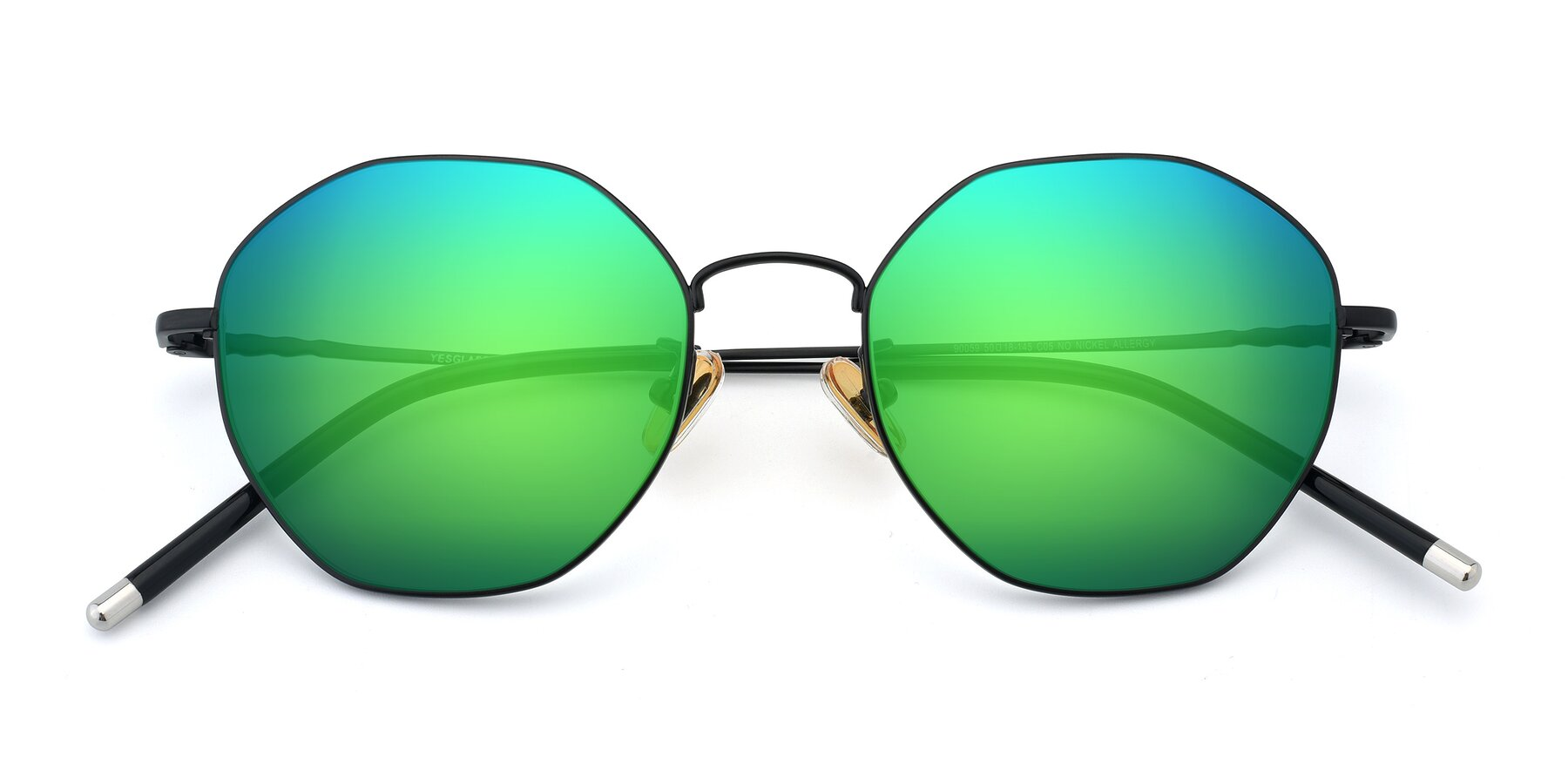 Folded Front of 90059 in Black with Green Mirrored Lenses