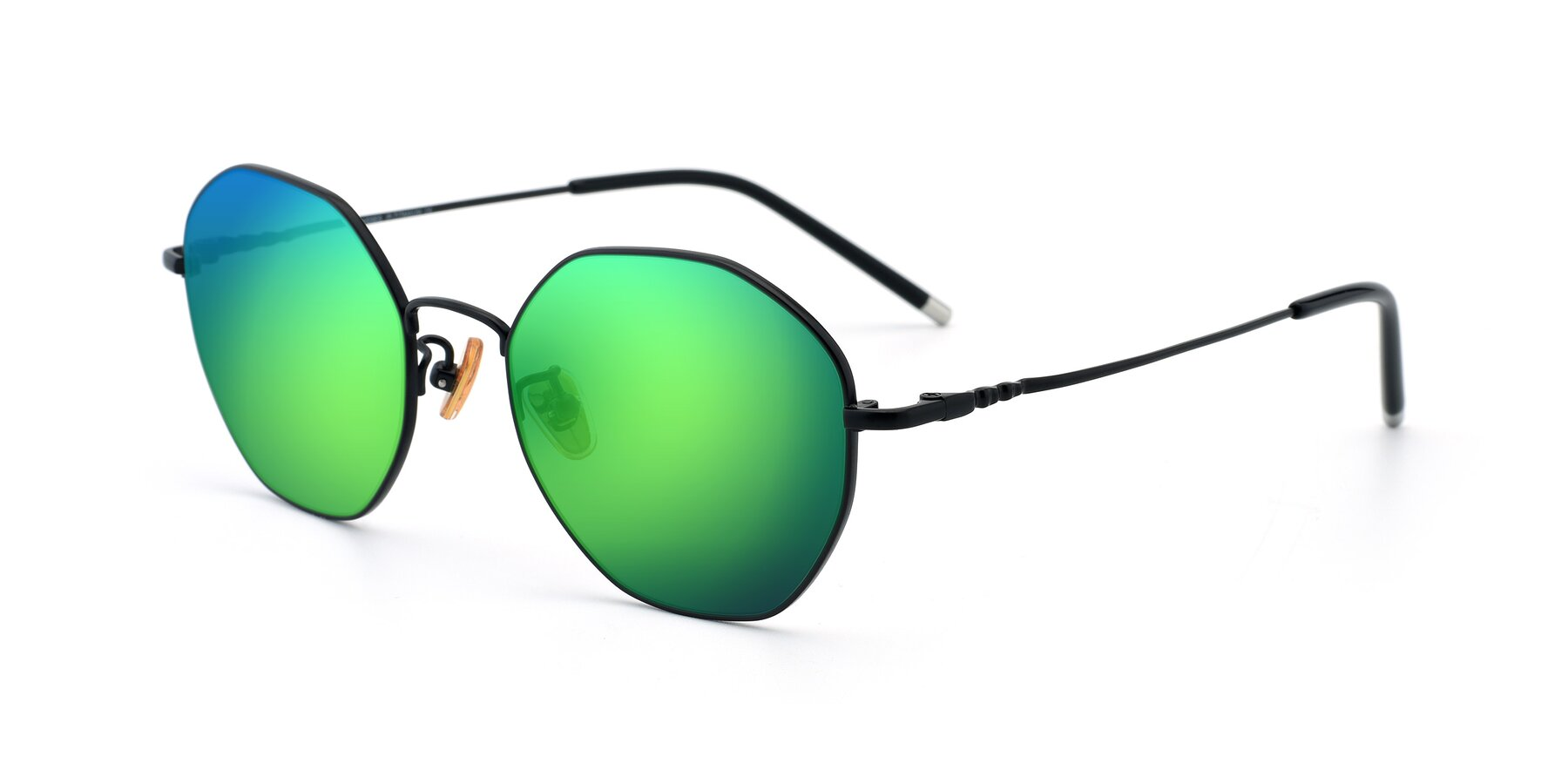 Angle of 90059 in Black with Green Mirrored Lenses