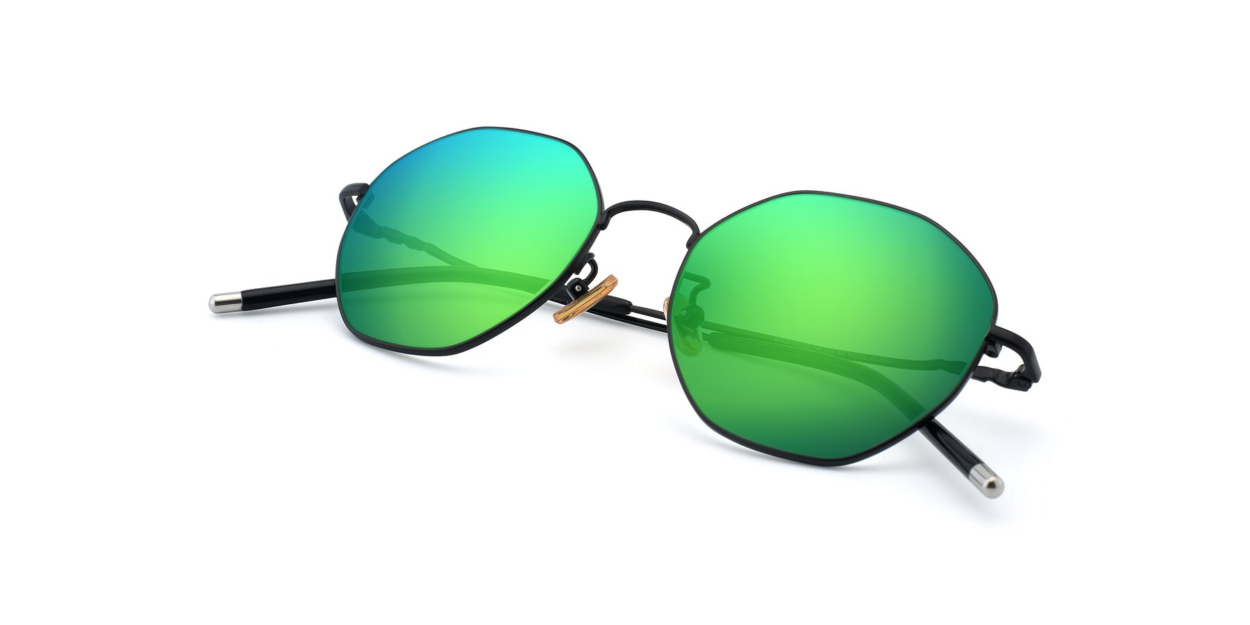 View of 90059 in Black with Green Mirrored Lenses