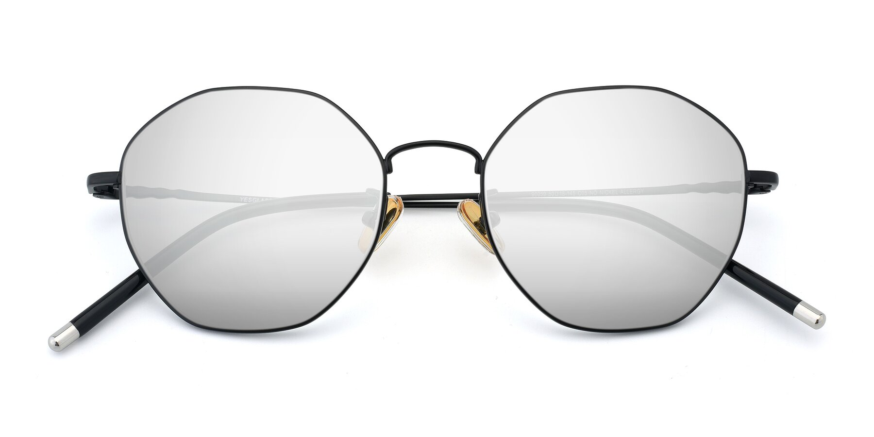 Folded Front of 90059 in Black with Silver Mirrored Lenses