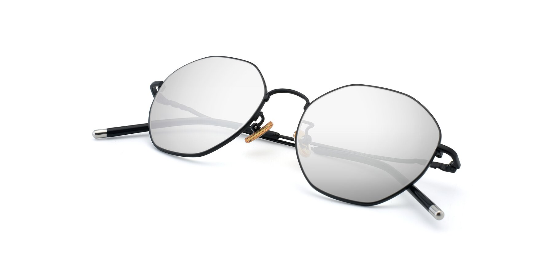 View of 90059 in Black with Silver Mirrored Lenses