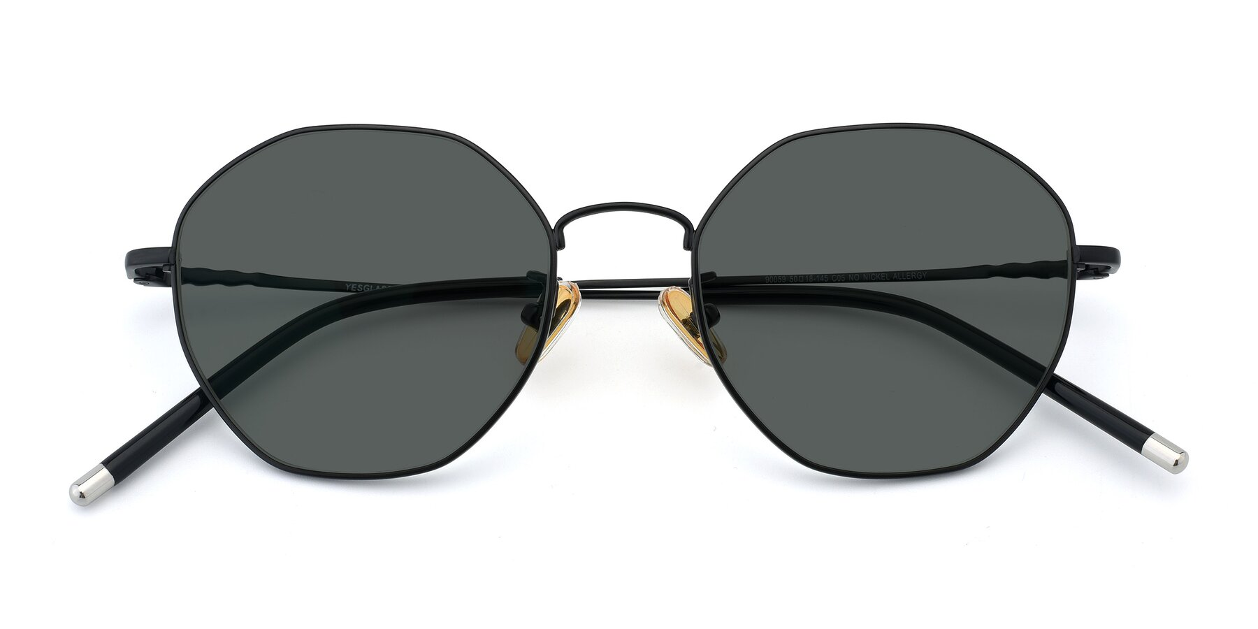Folded Front of 90059 in Black with Gray Polarized Lenses