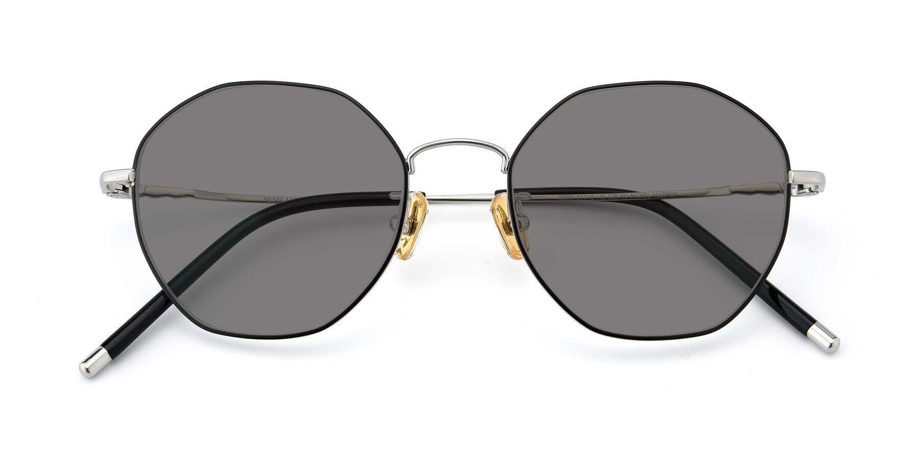 Folded Front of 90059 in Black-Silver with Medium Gray Tinted Lenses