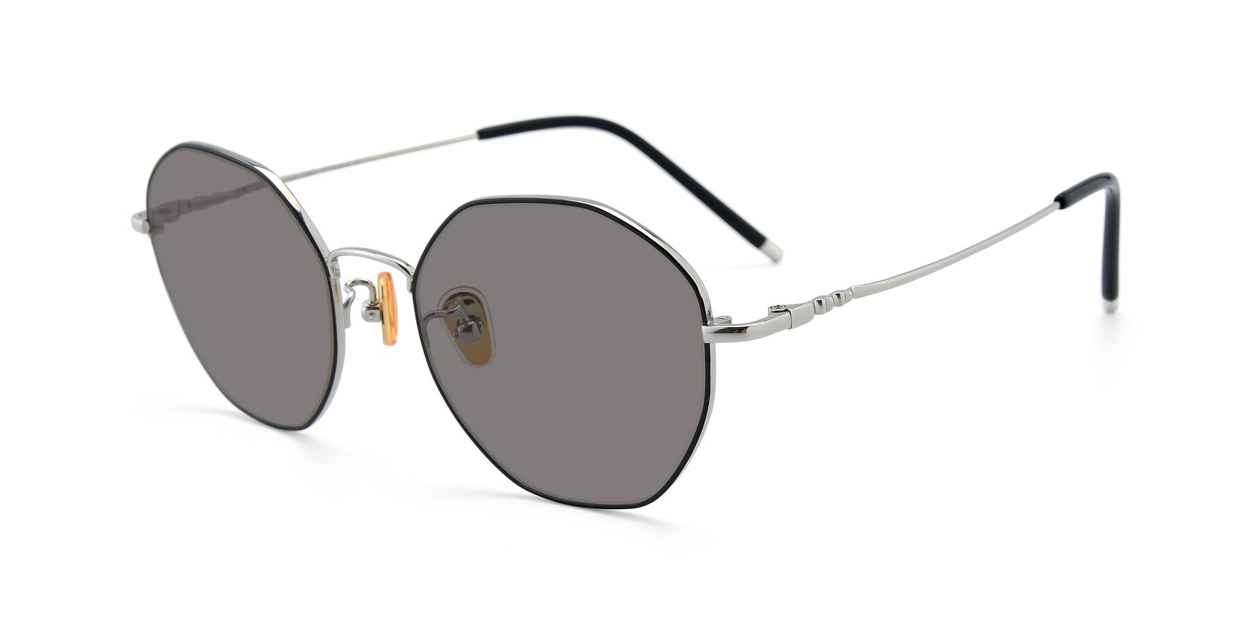 Angle of 90059 in Black-Silver with Medium Gray Tinted Lenses