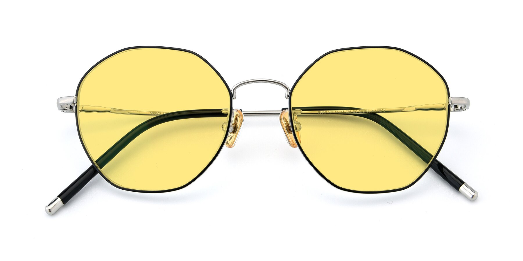 Folded Front of 90059 in Black-Silver with Medium Yellow Tinted Lenses