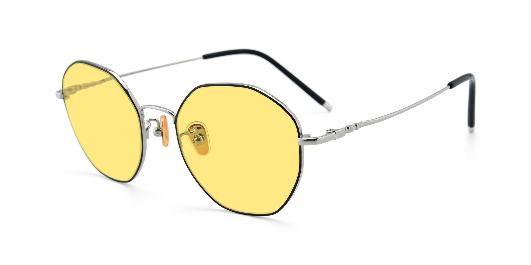 Angle of 90059 in Black-Silver with Medium Yellow Tinted Lenses