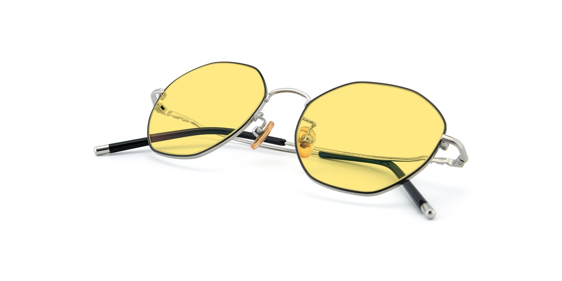 View of 90059 in Black-Silver with Medium Yellow Tinted Lenses