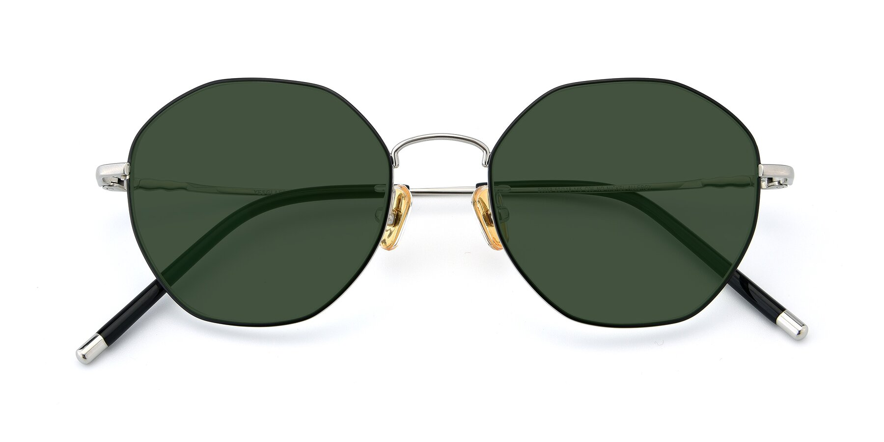 Folded Front of 90059 in Black-Silver with Green Tinted Lenses