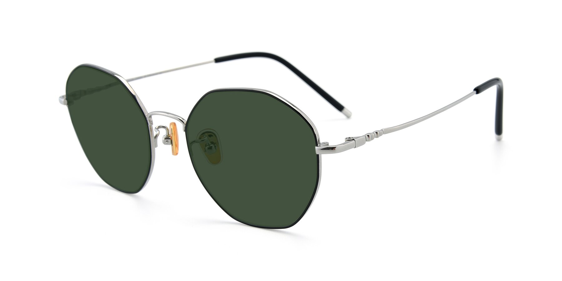 Angle of 90059 in Black-Silver with Green Tinted Lenses