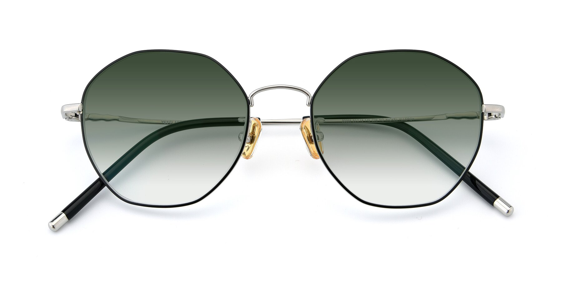 Folded Front of 90059 in Black-Silver with Green Gradient Lenses