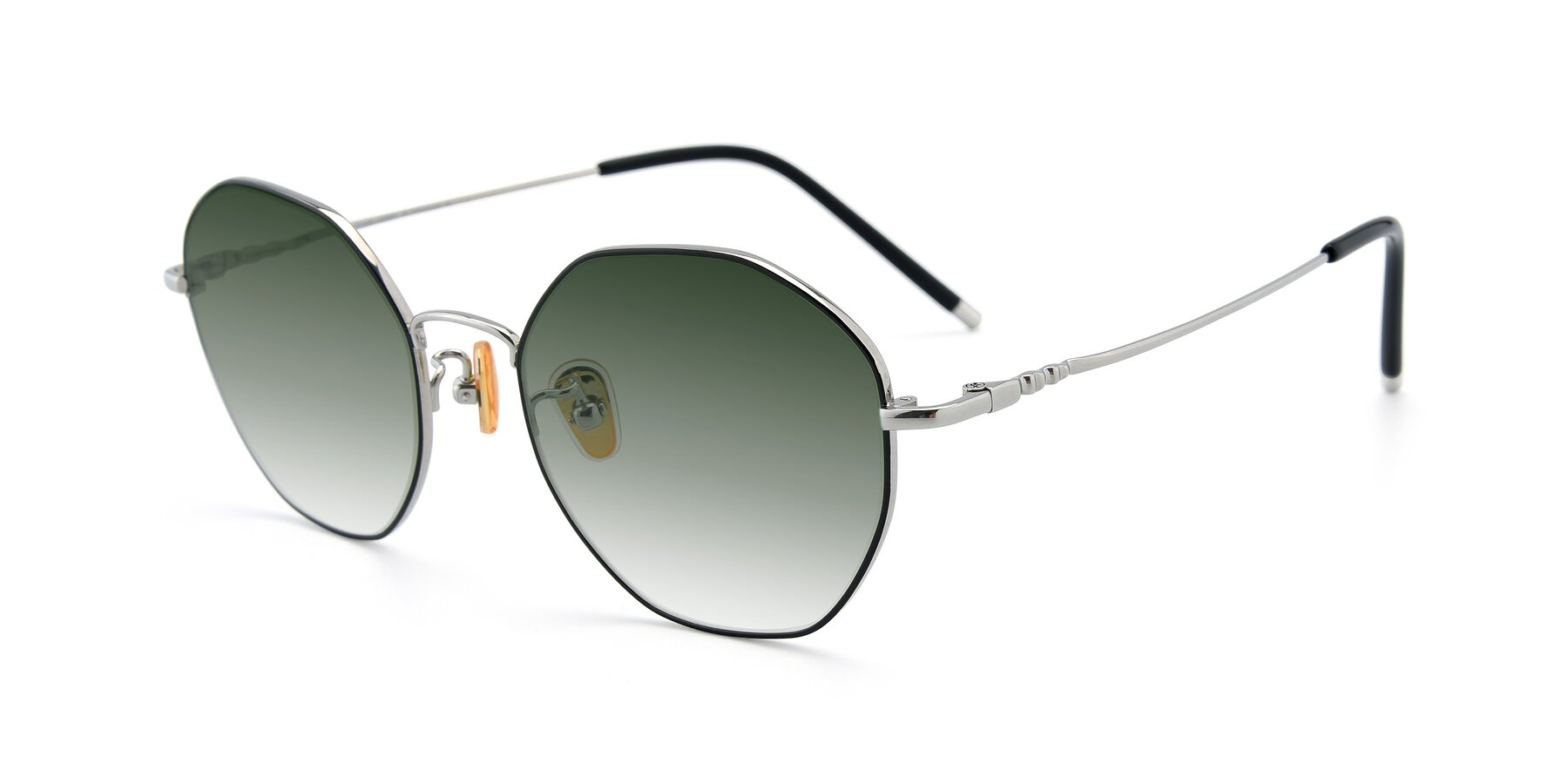 Angle of 90059 in Black-Silver with Green Gradient Lenses