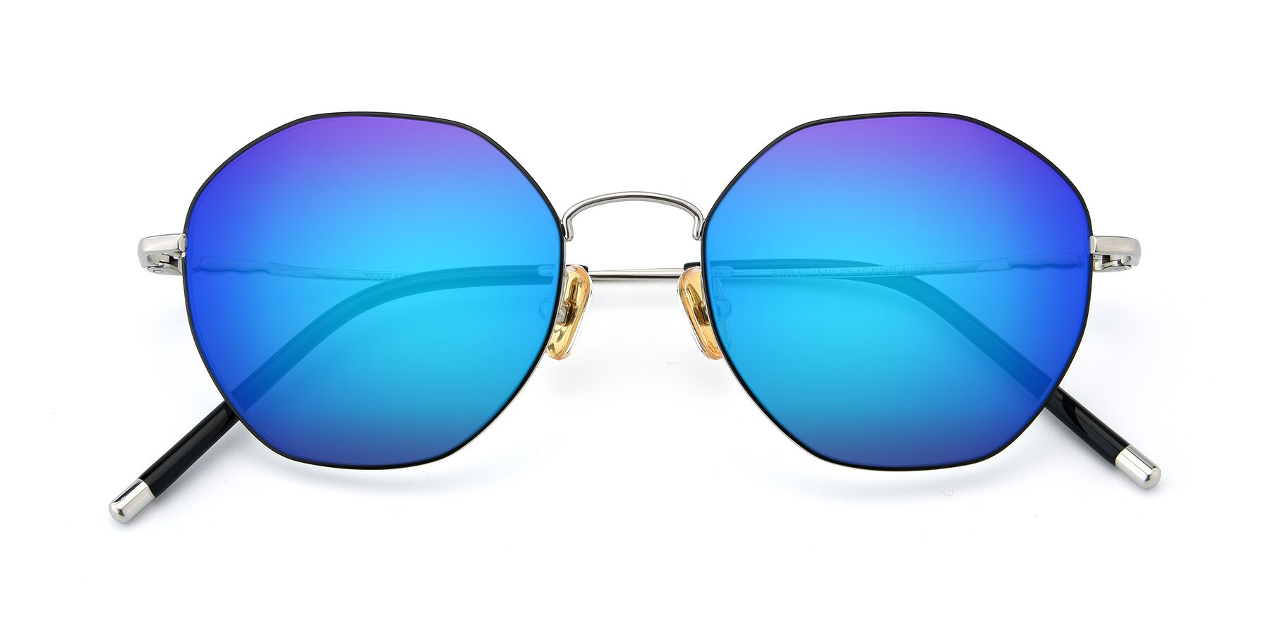 Folded Front of 90059 in Black-Silver with Blue Mirrored Lenses