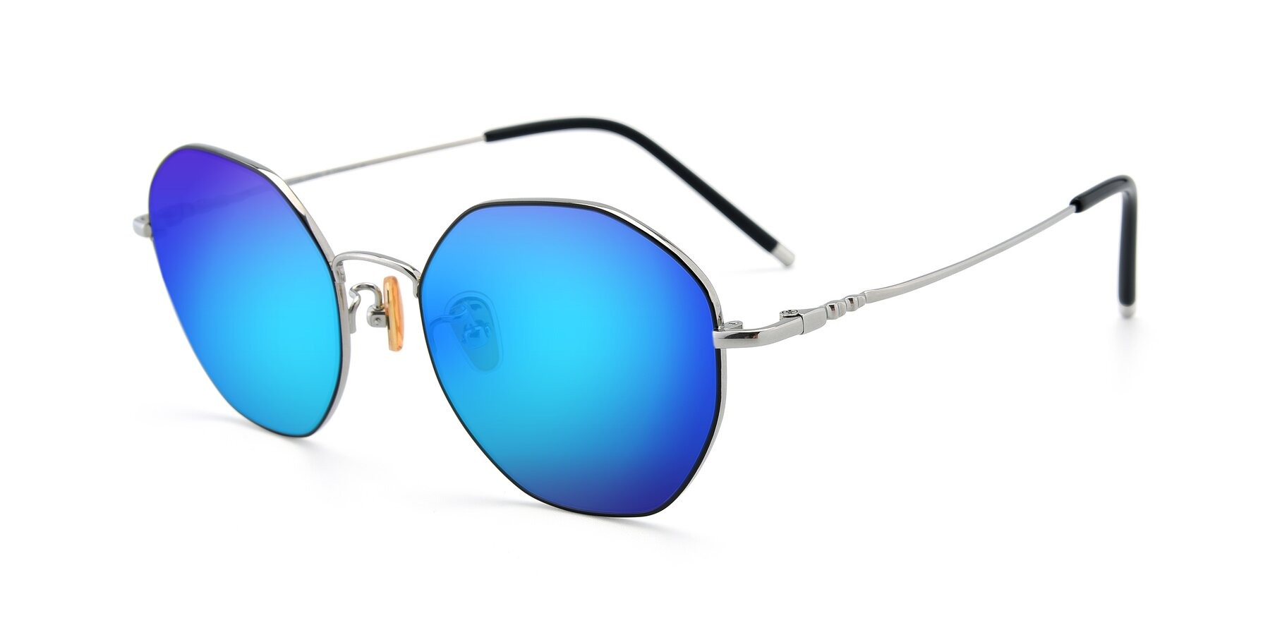 Angle of 90059 in Black-Silver with Blue Mirrored Lenses