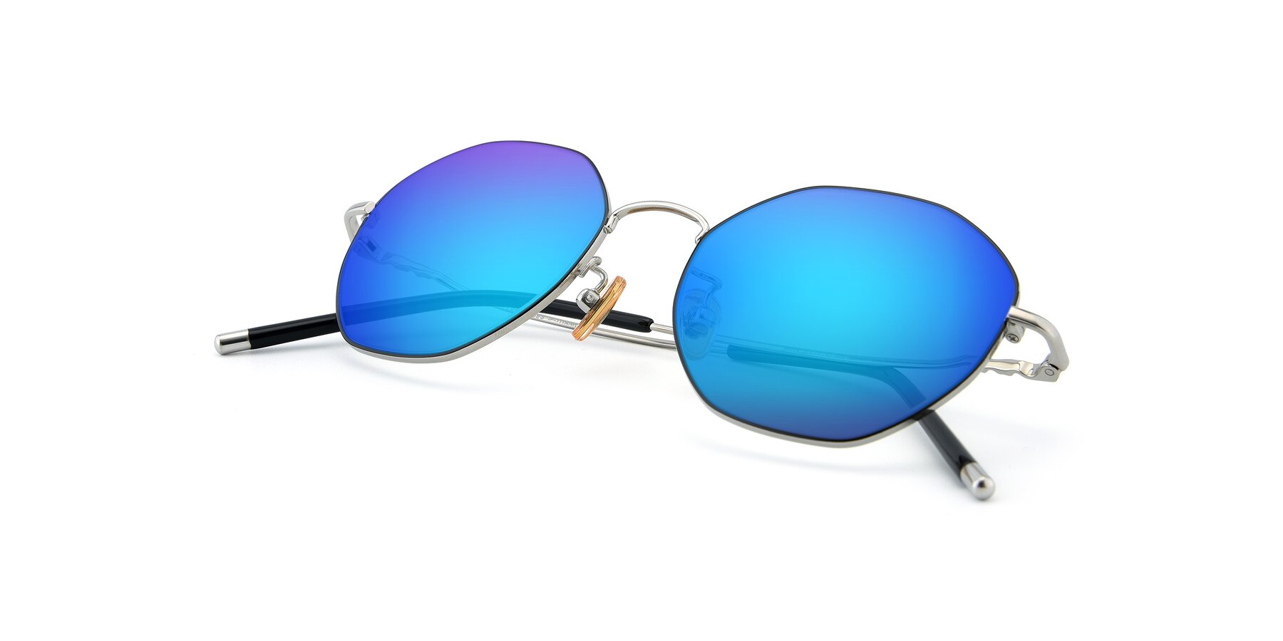 View of 90059 in Black-Silver with Blue Mirrored Lenses