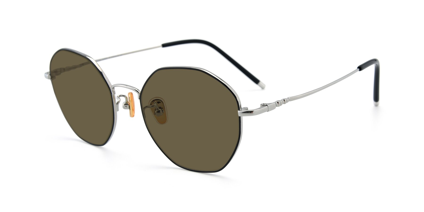 Angle of 90059 in Black-Silver with Brown Polarized Lenses