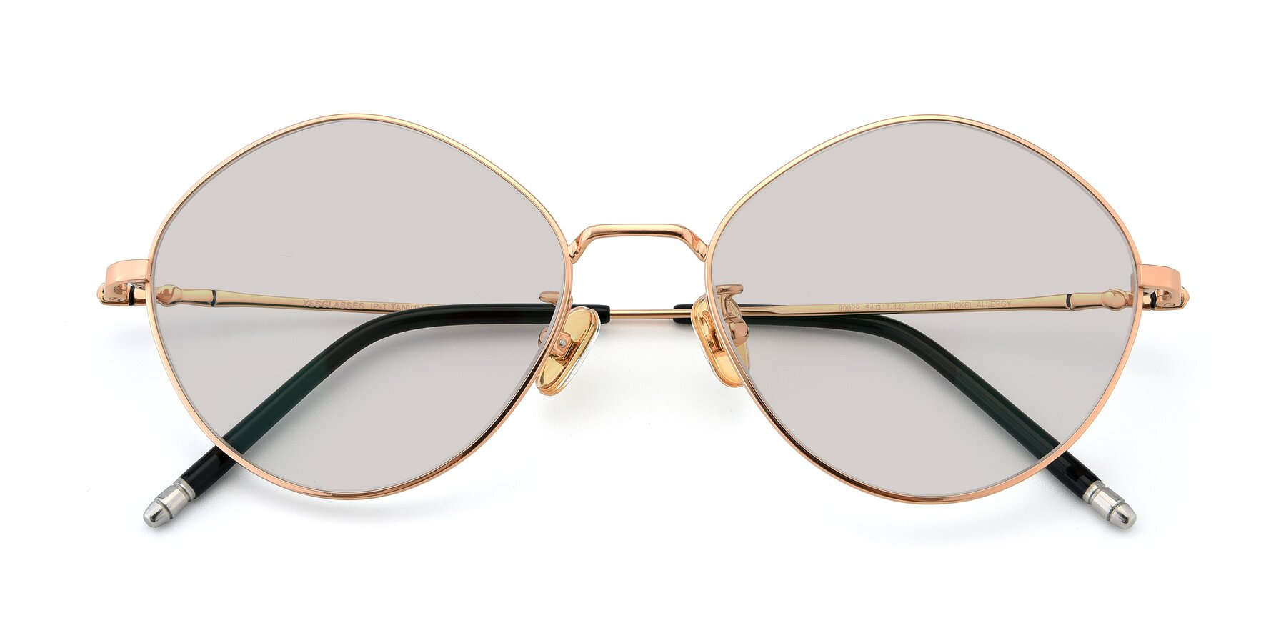 Folded Front of 90029 in Gold with Light Brown Tinted Lenses