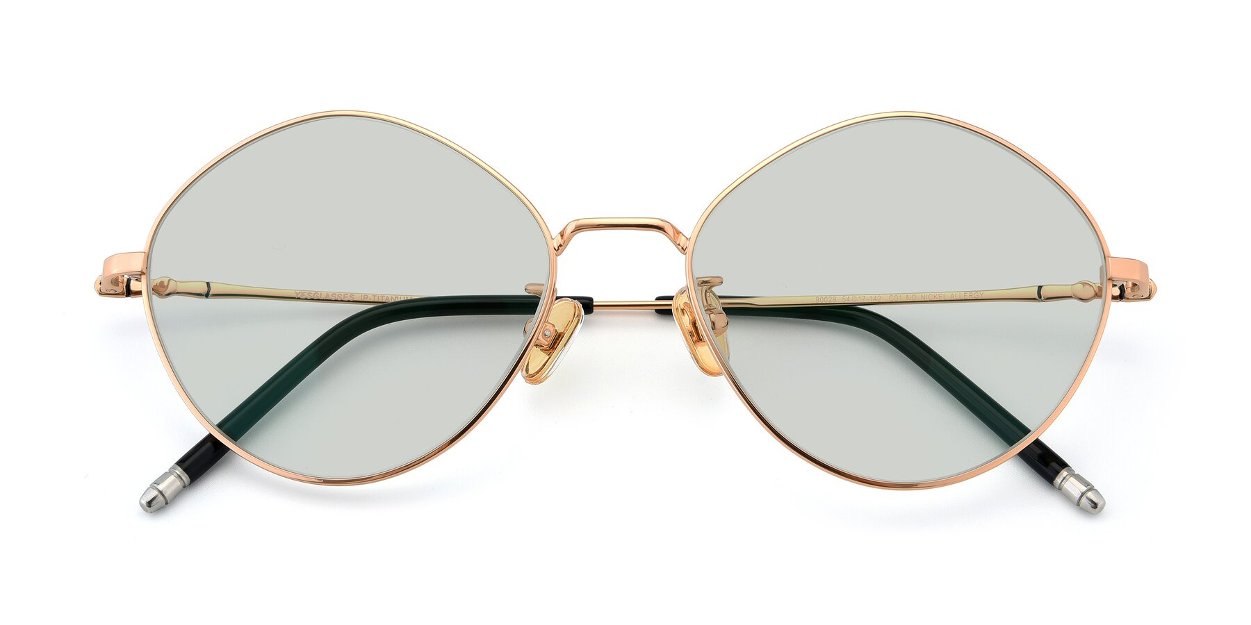 Folded Front of 90029 in Gold with Light Green Tinted Lenses
