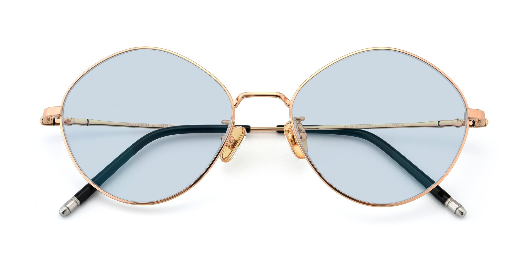 Folded Front of 90029 in Gold with Light Blue Tinted Lenses