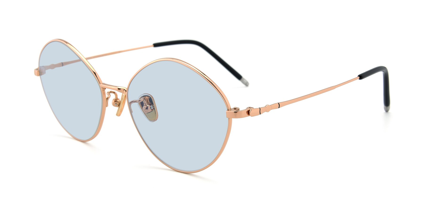 Angle of 90029 in Gold with Light Blue Tinted Lenses