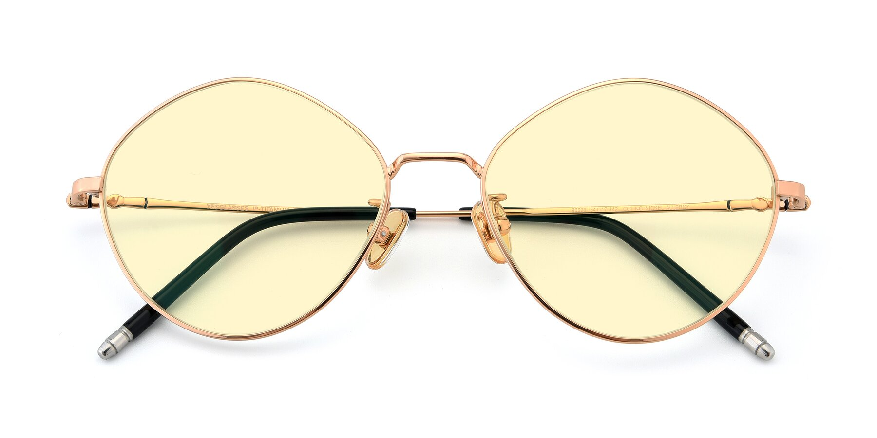 Folded Front of 90029 in Gold with Light Yellow Tinted Lenses