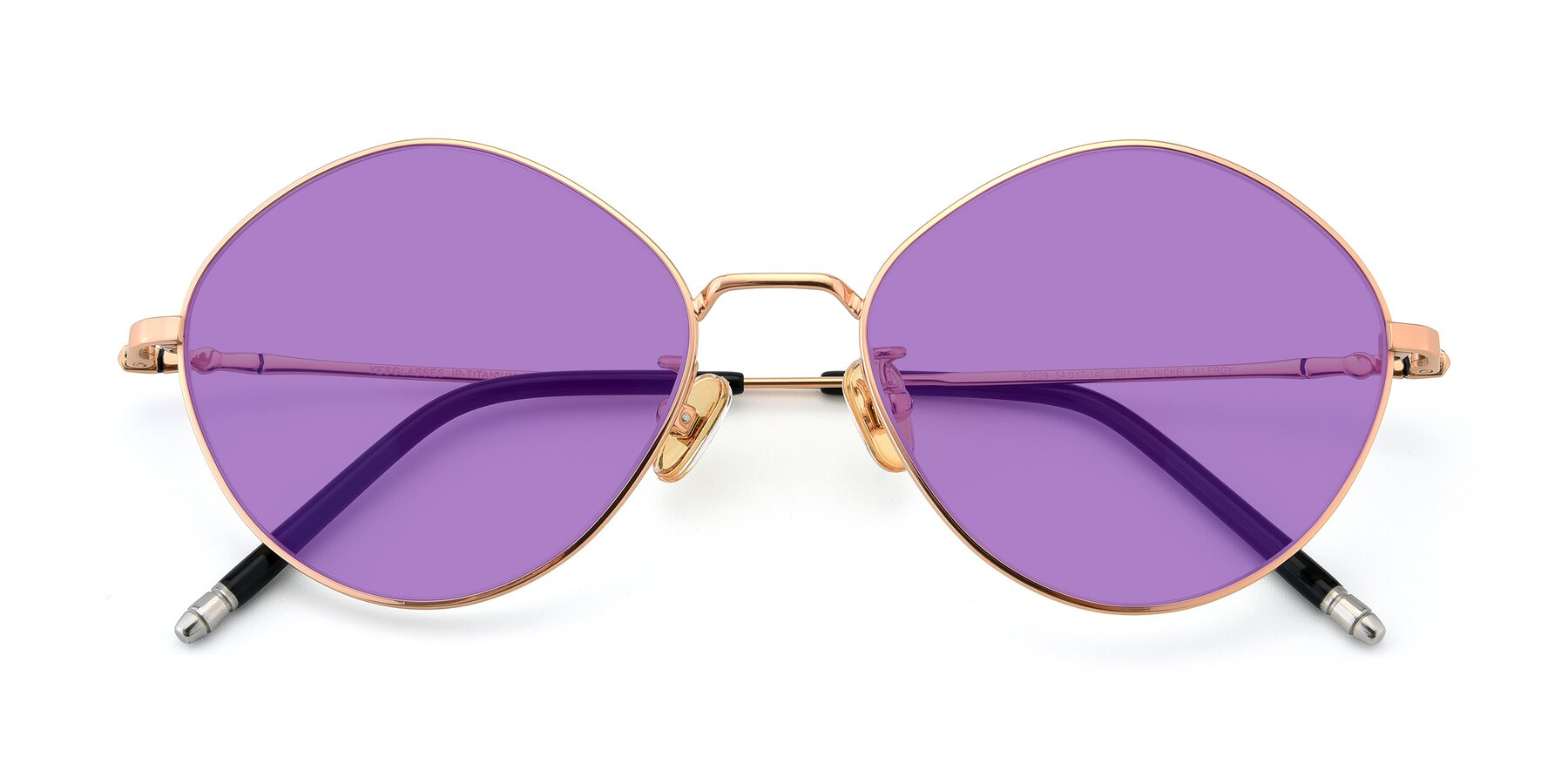 Folded Front of 90029 in Gold with Medium Purple Tinted Lenses
