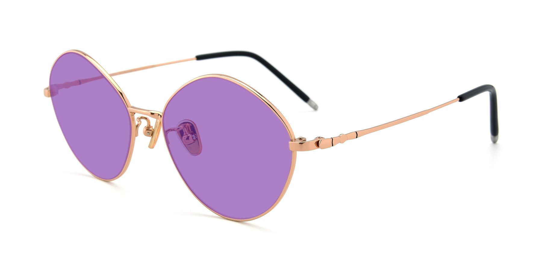 Angle of 90029 in Gold with Medium Purple Tinted Lenses