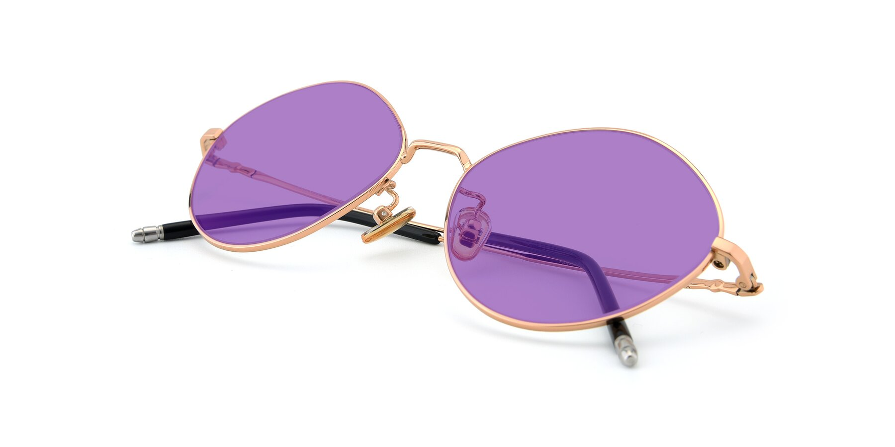 View of 90029 in Gold with Medium Purple Tinted Lenses