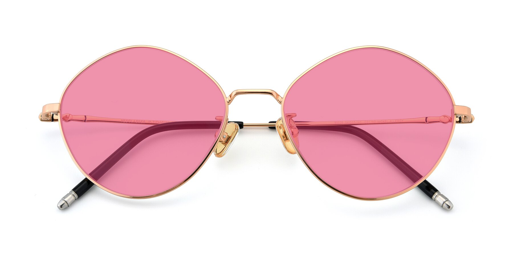 Folded Front of 90029 in Gold with Pink Tinted Lenses