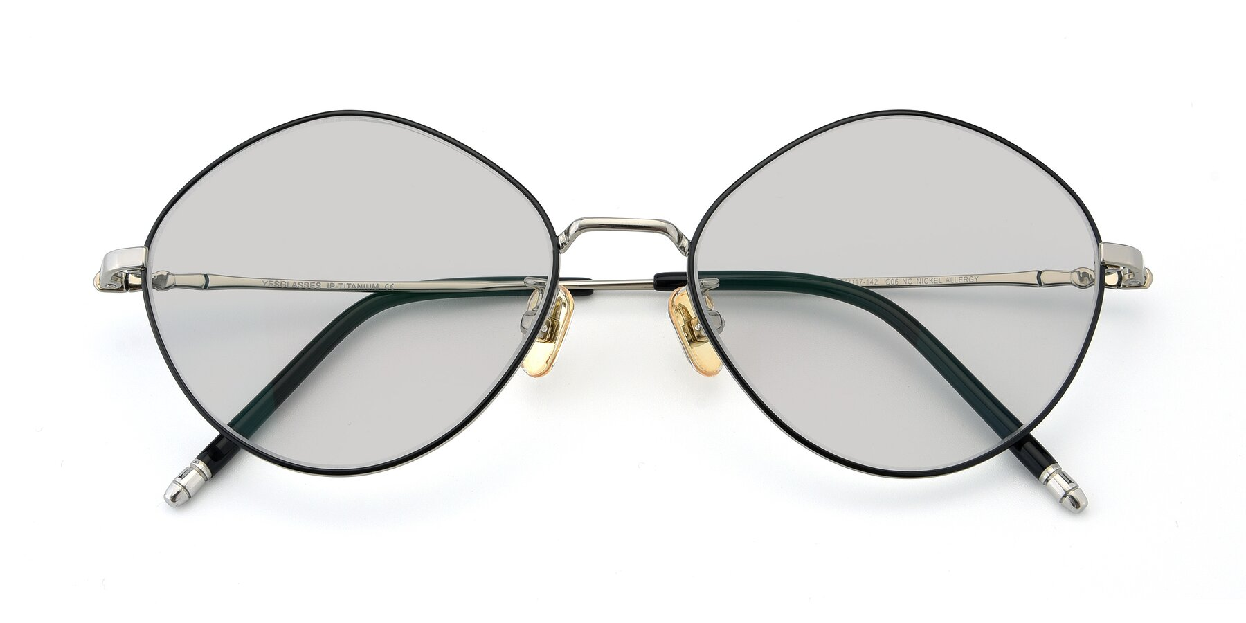 Folded Front of 90029 in Black-Silver with Light Gray Tinted Lenses
