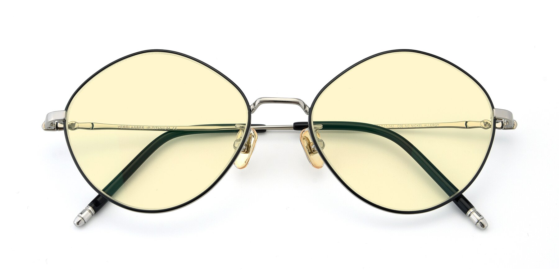 Folded Front of 90029 in Black-Silver with Light Yellow Tinted Lenses