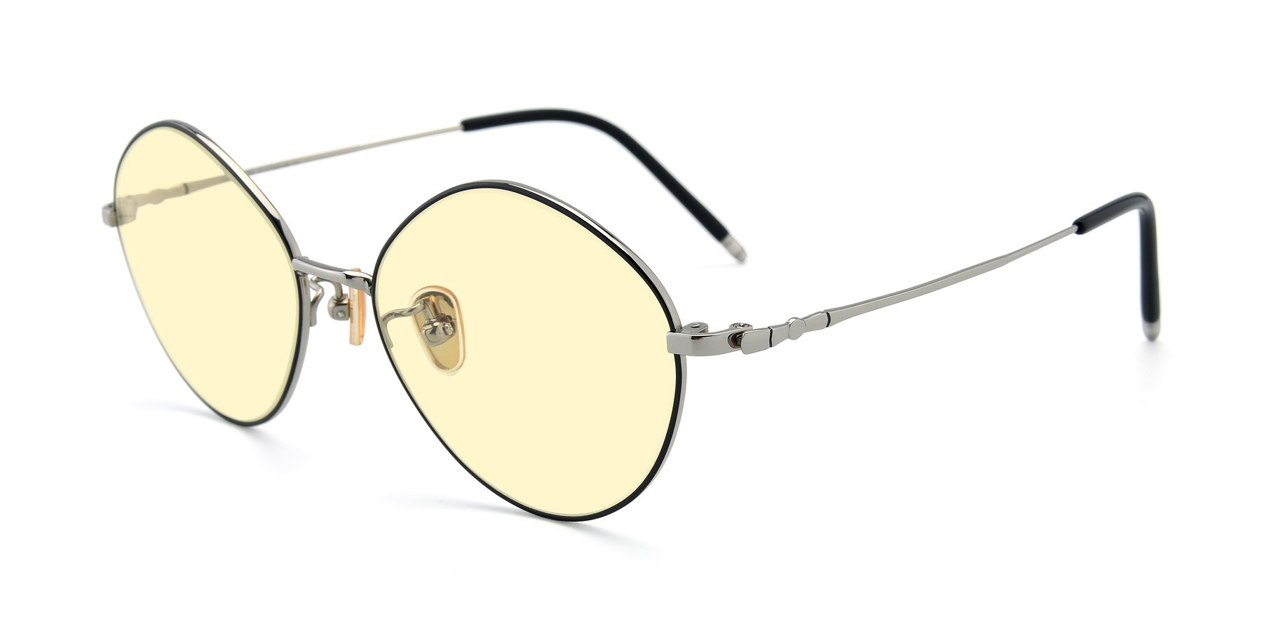 Angle of 90029 in Black-Silver with Light Yellow Tinted Lenses