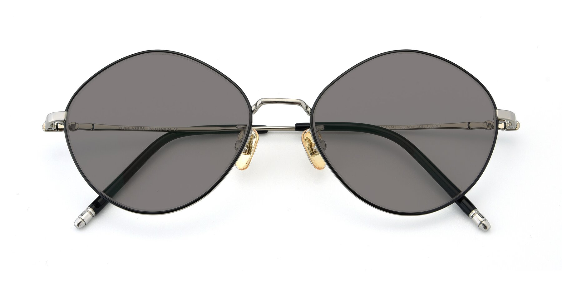 Folded Front of 90029 in Black-Silver with Medium Gray Tinted Lenses