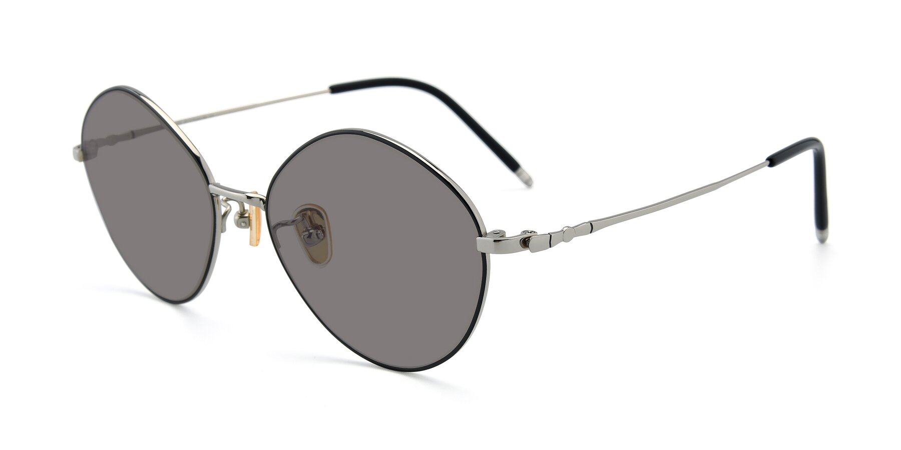 Angle of 90029 in Black-Silver with Medium Gray Tinted Lenses