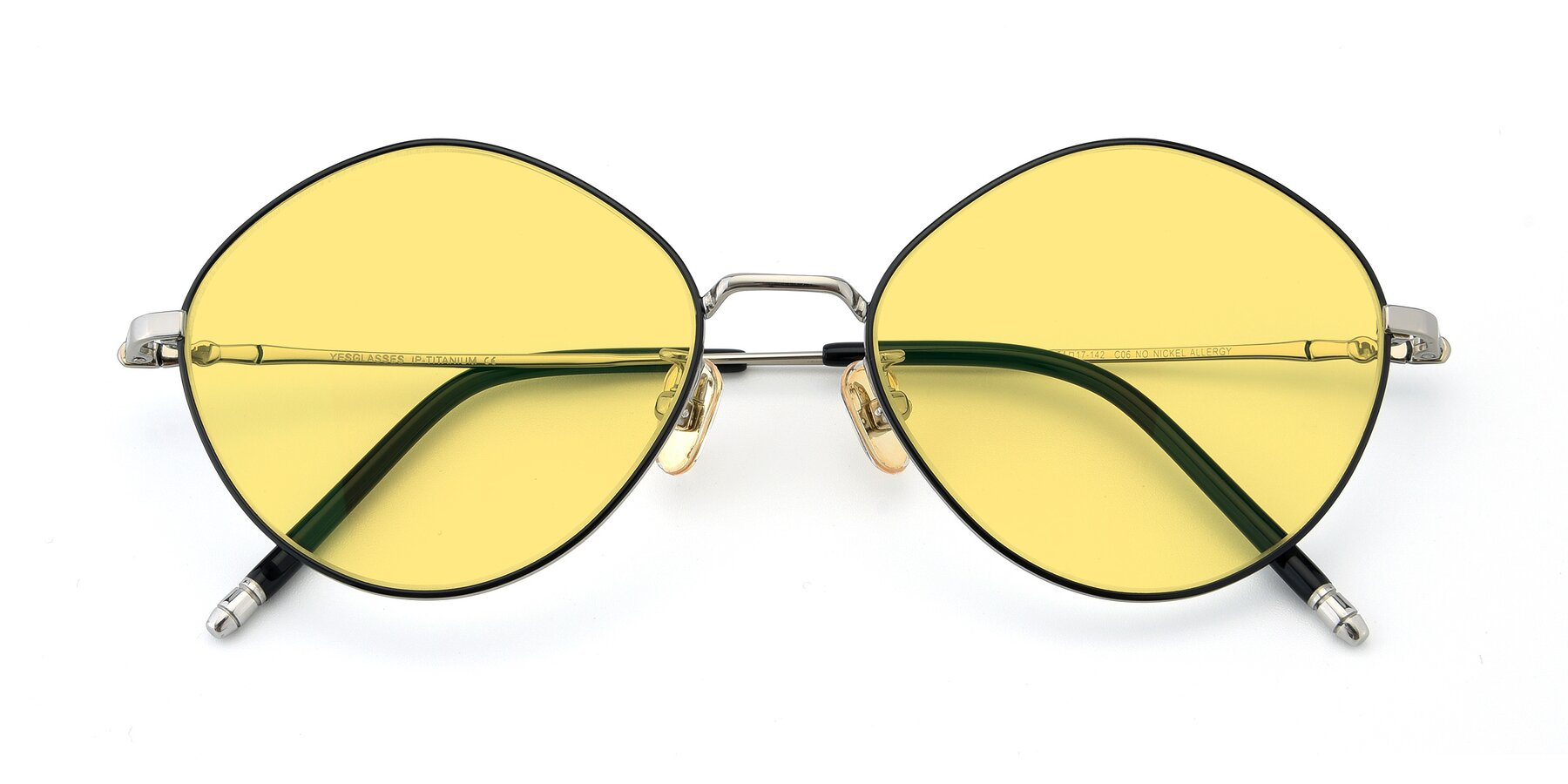 Folded Front of 90029 in Black-Silver with Medium Yellow Tinted Lenses