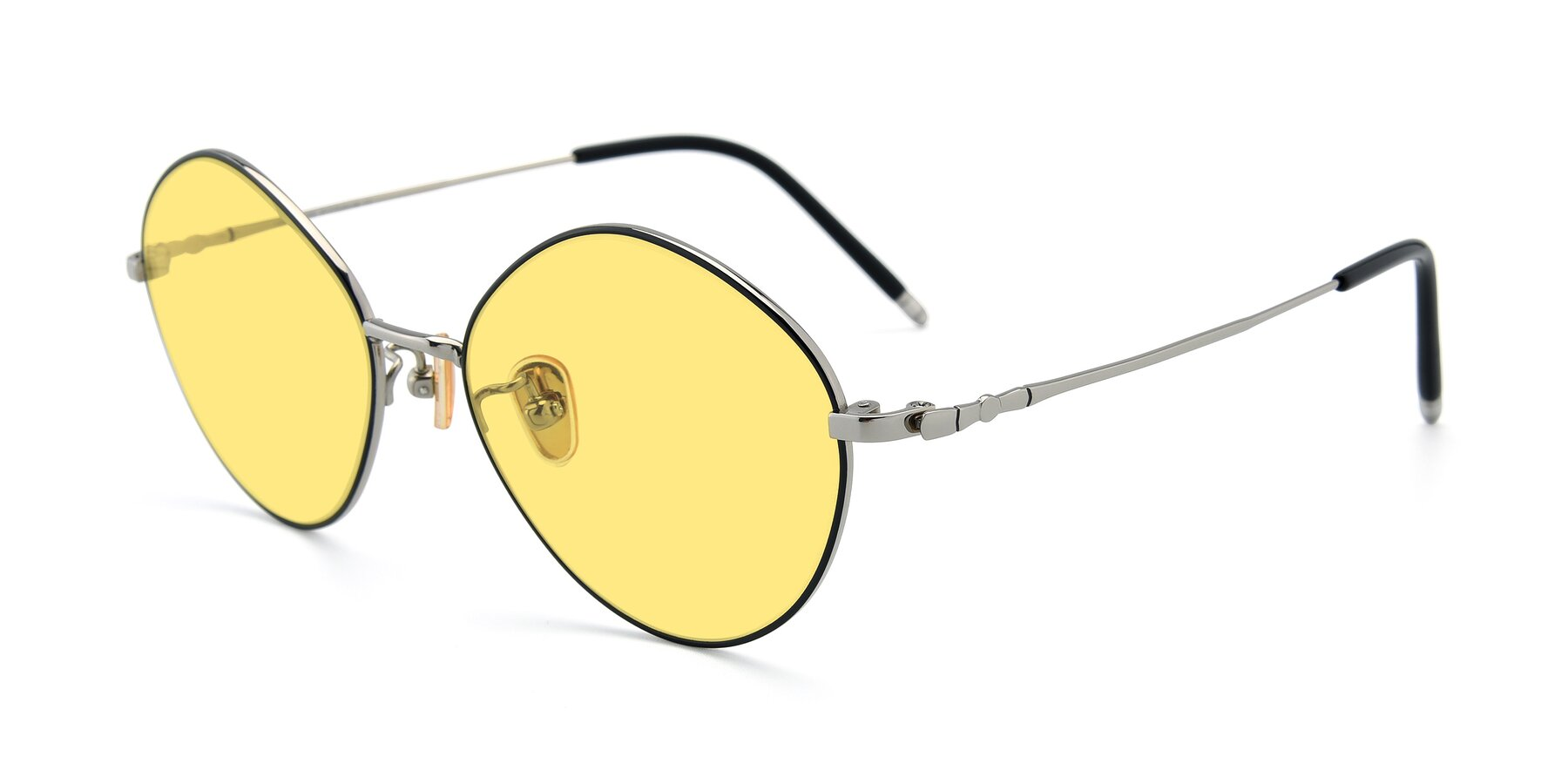 Angle of 90029 in Black-Silver with Medium Yellow Tinted Lenses