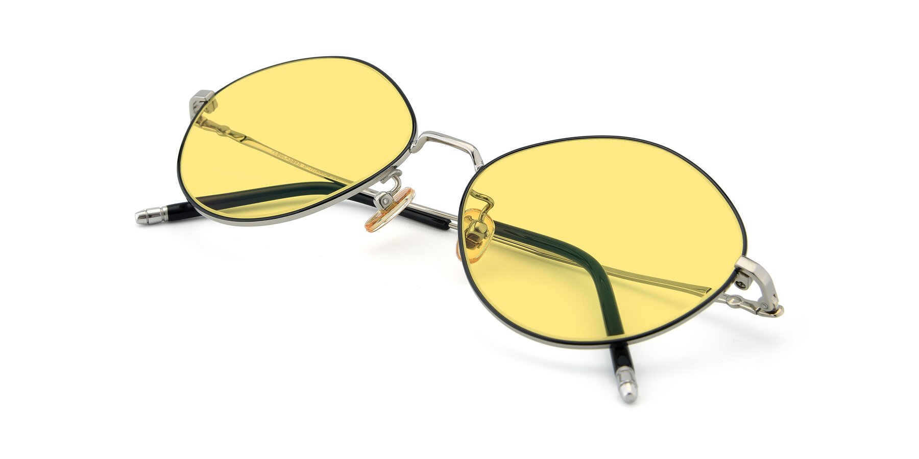 View of 90029 in Black-Silver with Medium Yellow Tinted Lenses