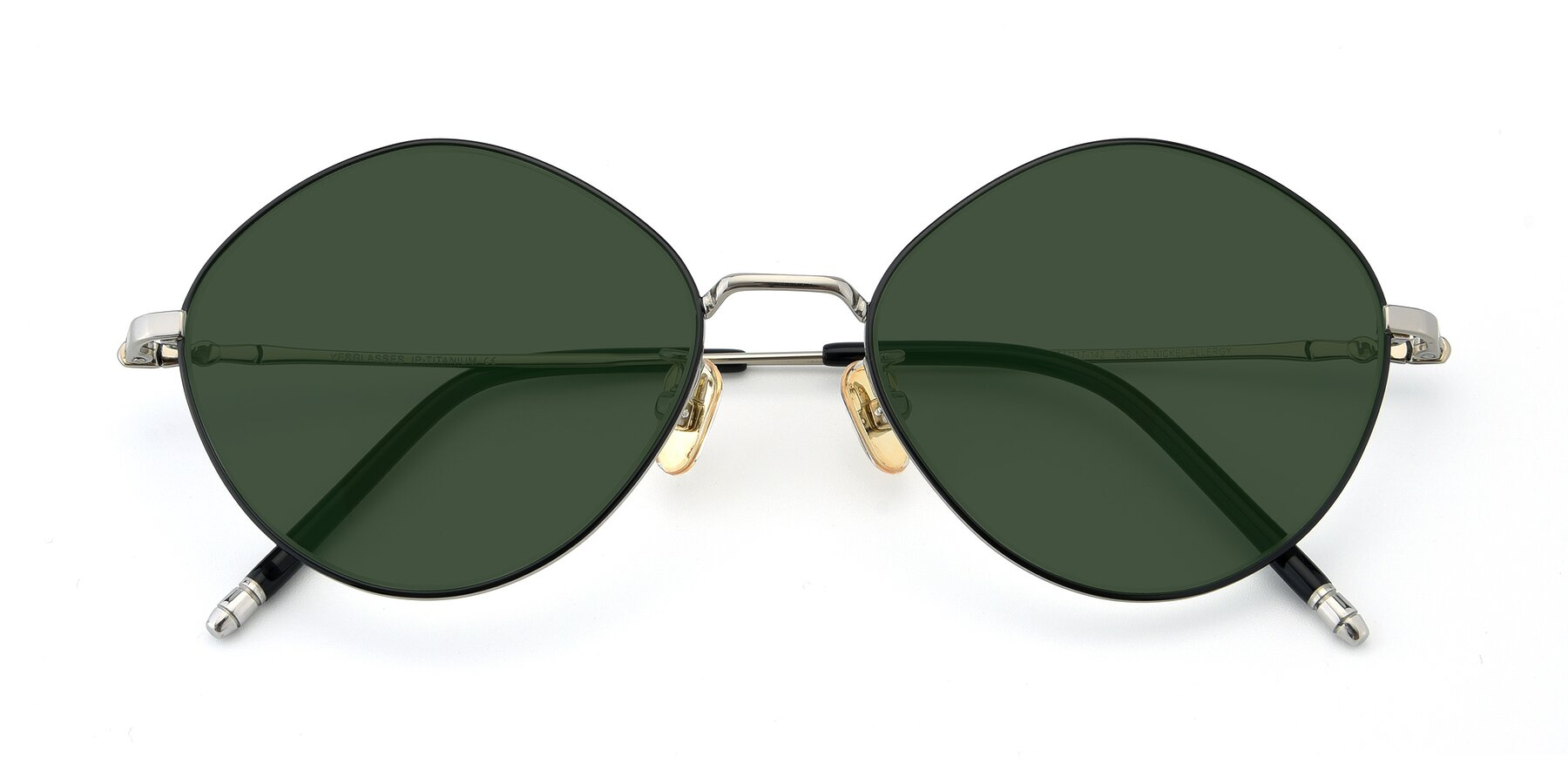 Folded Front of 90029 in Black-Silver with Green Tinted Lenses