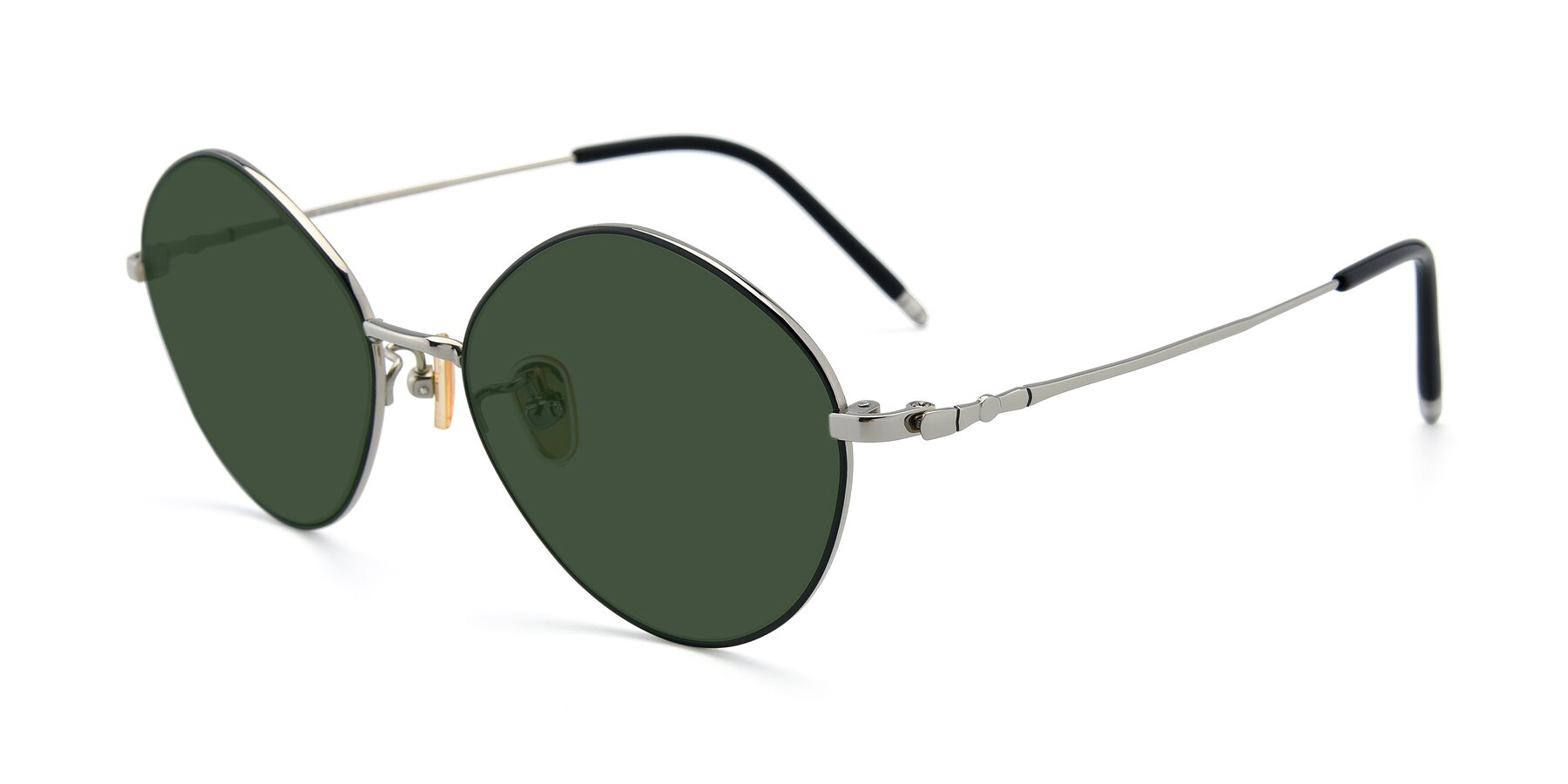 Angle of 90029 in Black-Silver with Green Tinted Lenses