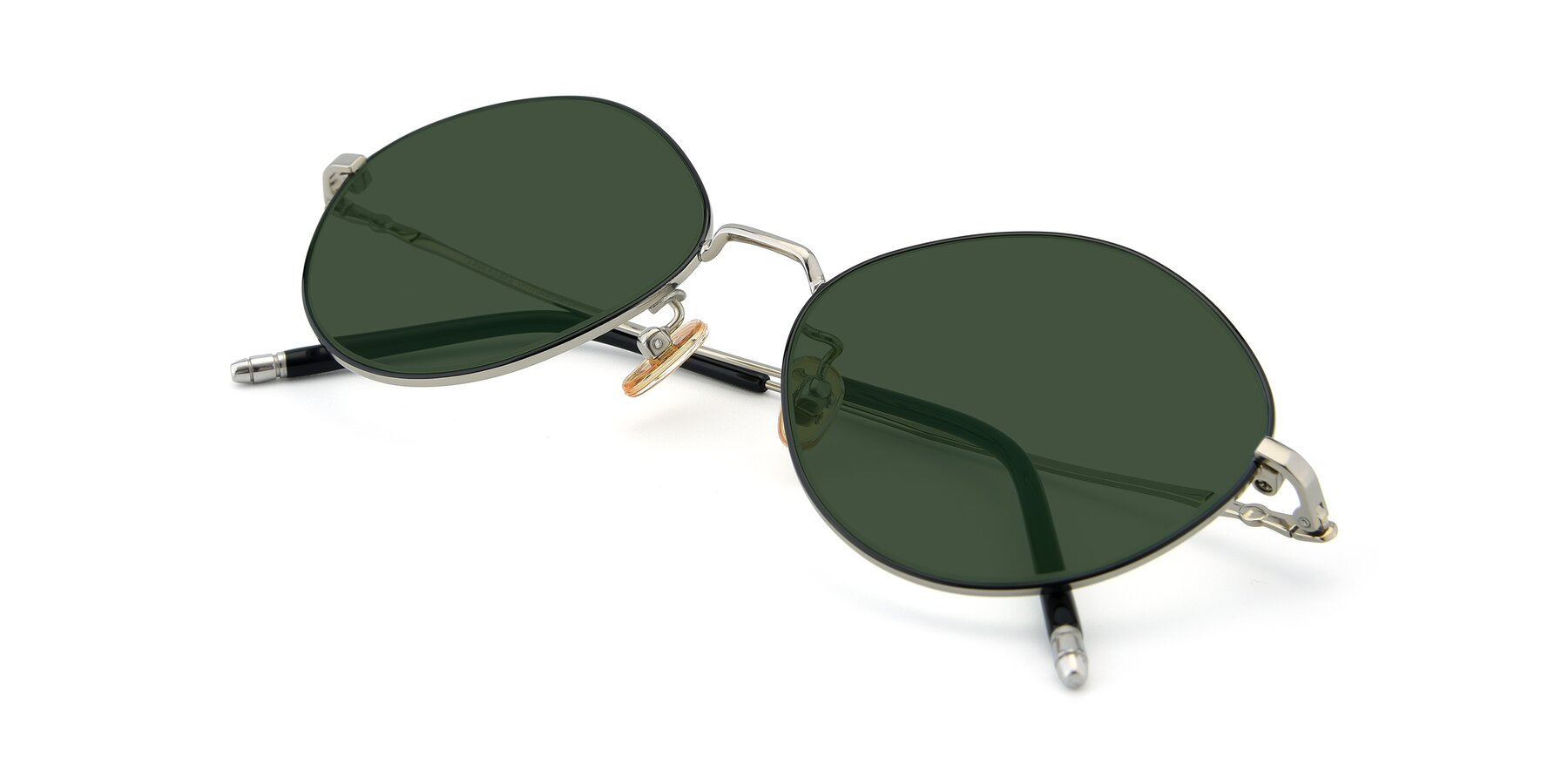 View of 90029 in Black-Silver with Green Tinted Lenses
