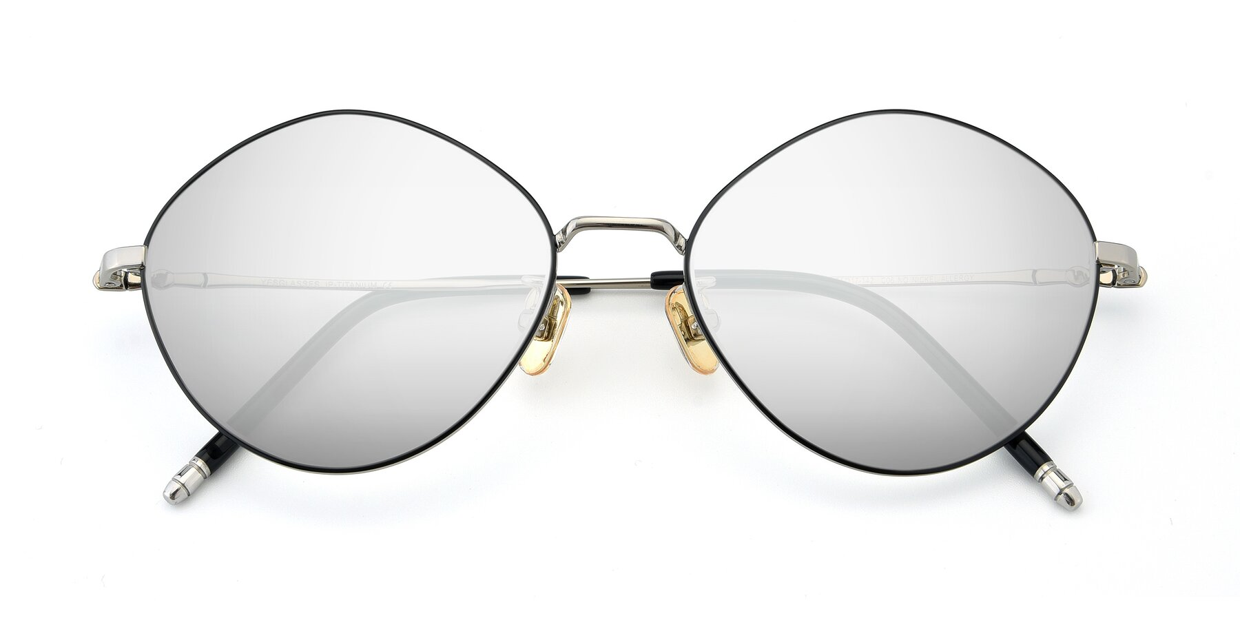 Folded Front of 90029 in Black-Silver with Silver Mirrored Lenses