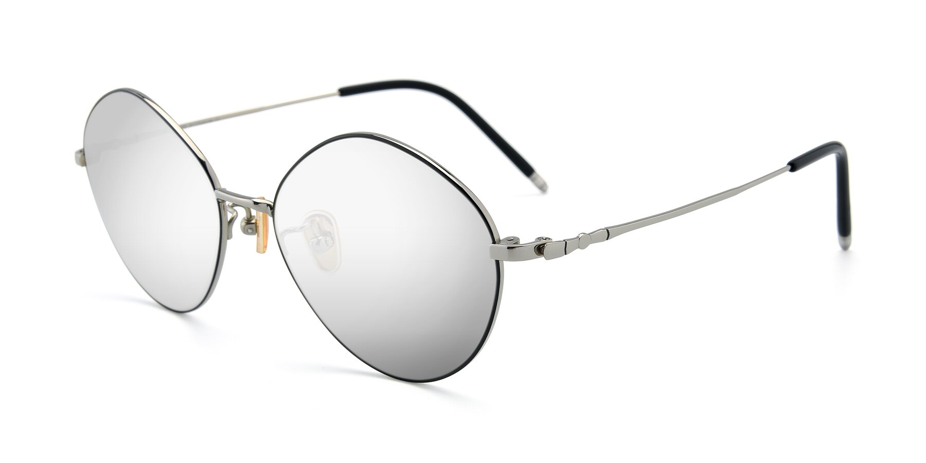 Angle of 90029 in Black-Silver with Silver Mirrored Lenses